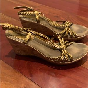 White Mountain gold wedge sandals, size 8